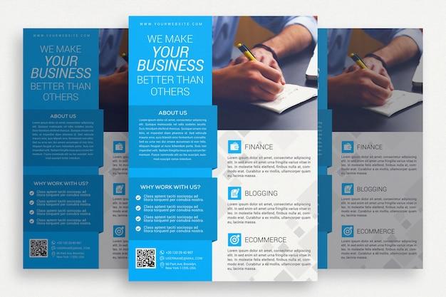 Blaue und weiße business-broschüre