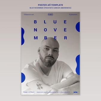 Blaue vertikale druckvorlage für november