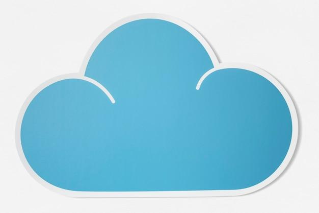 Blaue wolke ausgeschnitten symbol