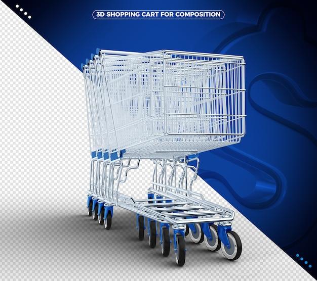 Blauer 3d einkaufswagen lokalisiert