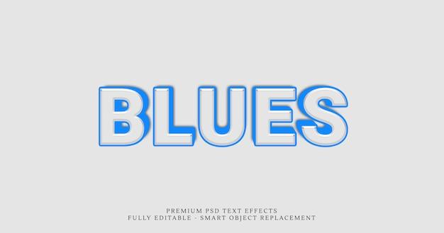 Blauer art-effekt psd des textes 3d