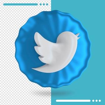Blauer ballon und logo des twitter 3d-renderings