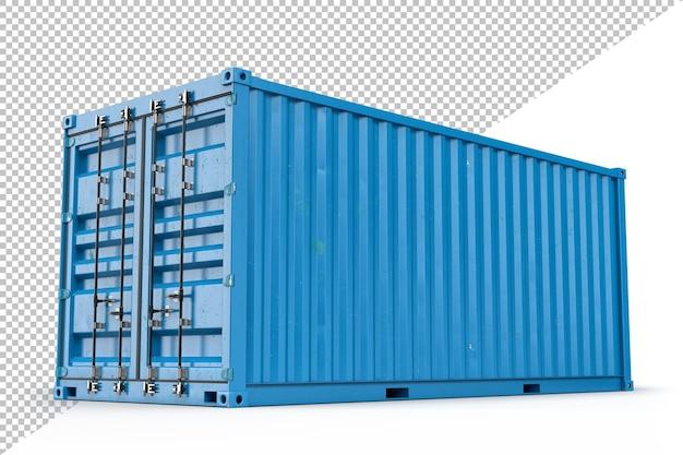 Blauer frachtcontainer. 3d-rendering