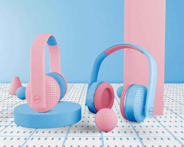 Blauer minimalistischer kopfhörer drahtlos