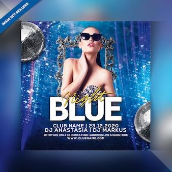 Blauer nachtparty-flyer