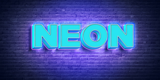 Blauer neontext-art-effekt 3d