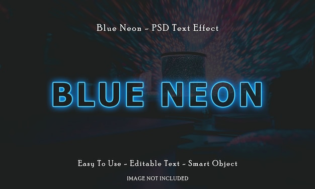 Blauer neontext-effekt