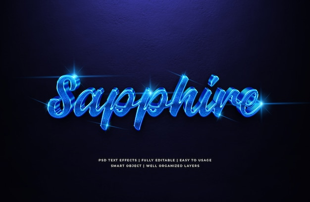 Blauer saphir 3d textstil-effekt