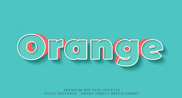 Blauer und orange art-effekt psd des textes 3d