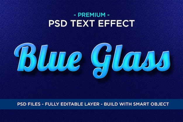 Blaues glas premium photoshop psd stile texteffekt