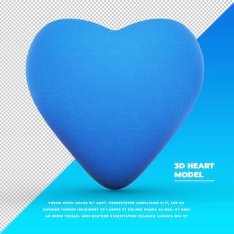 Blaues herz 3d-modell