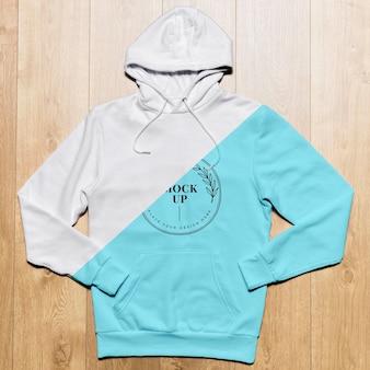 Blaues hoodie-modell der draufsicht