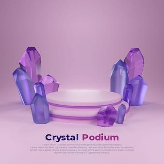 Blaues lila kristall-3d-podium-quadrat