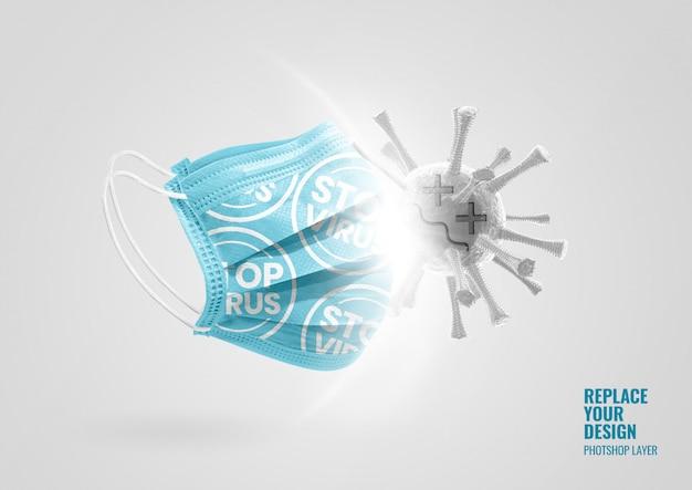 Blaues maskenmodell mit virenwerbung