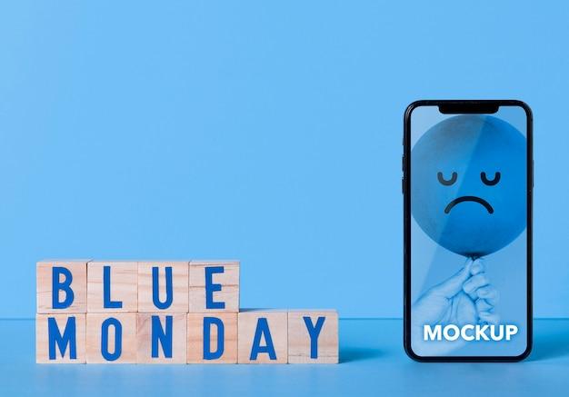 Blaues montag-konzept mit modell