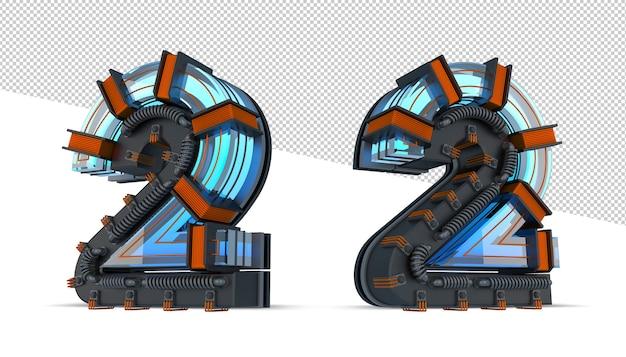 Blaues neonlicht der 3d-nummer mit kupferdraht