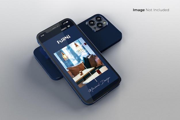 Blaues smartphone-modelldesign im vollbildmodus