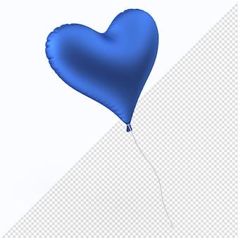 Blaues valentinstag-folienballonherz isoliert