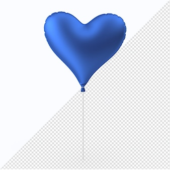 Blaues valentinstag-folienballonherz mit plastikstab isoliert
