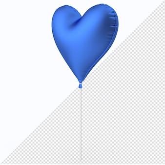 Blaues valentinstag-folienballonherz mit seitenansicht des plastiksticks