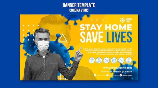 Bleib zu hause, rette leben banner vorlage
