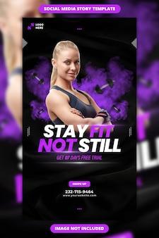 Bleiben sie fit, nicht immer noch fitness-facebook- und instagram-story-vorlage