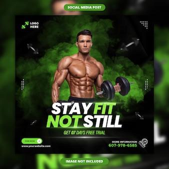 Bleiben sie fit, nicht immer noch fitness-social-media-banner und instagram-post-design