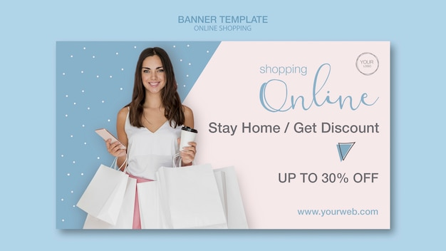 Bleiben sie zu hause und kaufen sie online banner vorlage