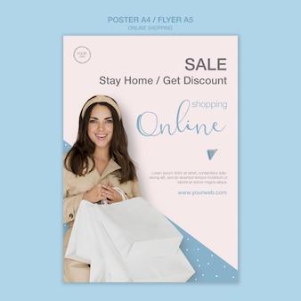 Bleiben sie zu hause und kaufen sie online poster-vorlage