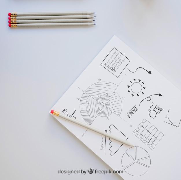 Bleistifte, papier und zeichnung