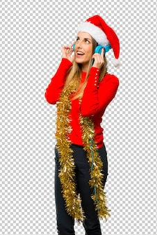 Blonde frau gekleidet für weihnachtsfeiertage