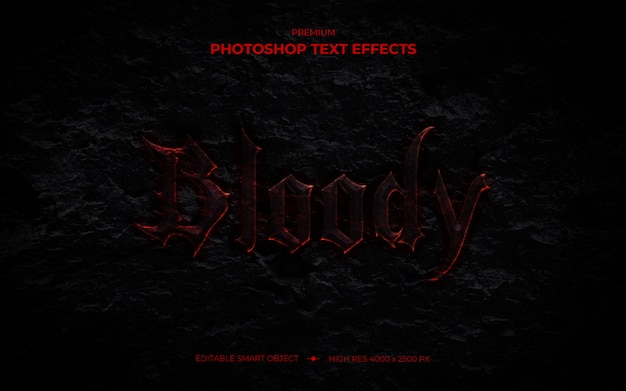 Bloody text effect mockup