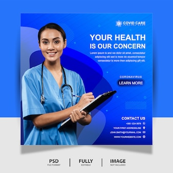 Blue health concern doktor social media post banner