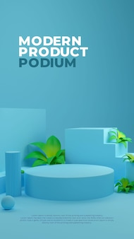 Blue nature plant 3d realistische podium-produkt-promo-anzeige