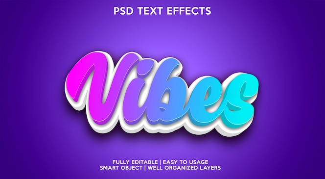 Blue vibes text effect modern