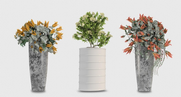 Blumen in der vase im 3d-rendering isoliert