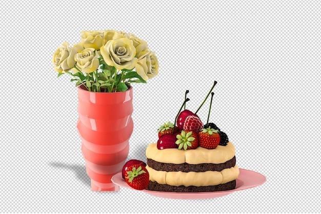 Blumen mit kuchen in der 3d-darstellung isoliert