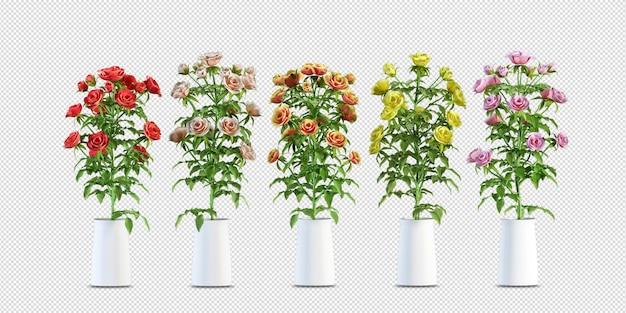 Blumenentwurf in der 3d-wiedergabe lokalisiert