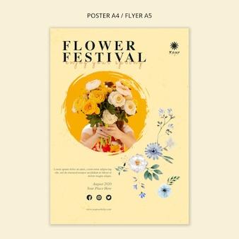 Blumenfestival konzept flyer vorlage
