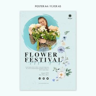 Blumenfestival-konzeptplakatschablone