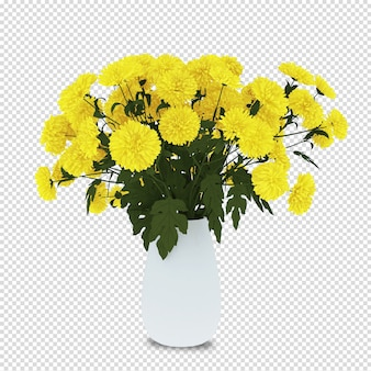 Blumenkorb im 3d-rendering
