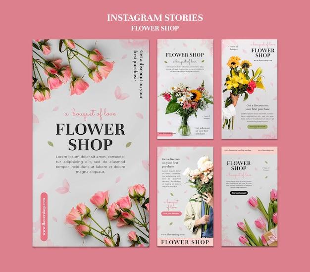 Blumenladen instagram-geschichten-set
