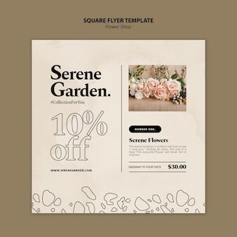 Blumenladen quadratische flyer-vorlage