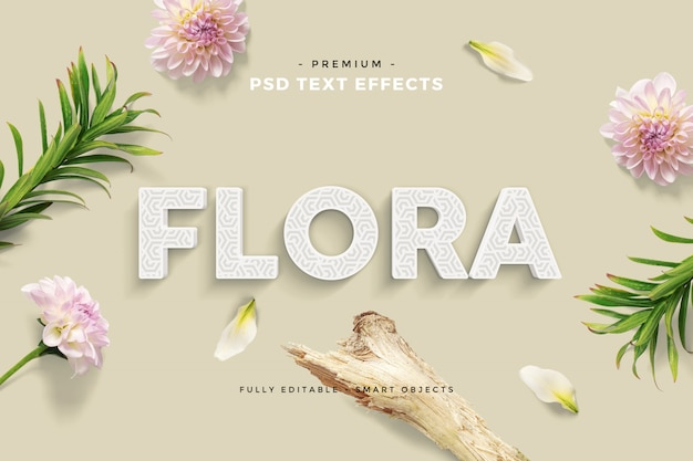 Blumenspaß-text-effekt-modell-gewohnheits-szene