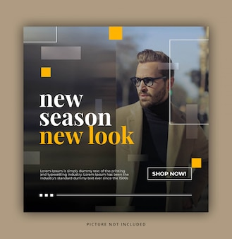 Blurred yellow rectangle modern dynamic clean einfache instagram post template oder square banner
