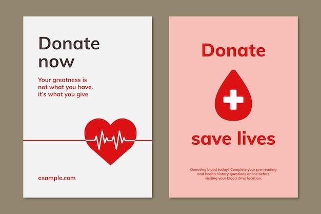 Blutspendekampagne vorlage psd-anzeigenplakat im minimalistischen stil doppelset