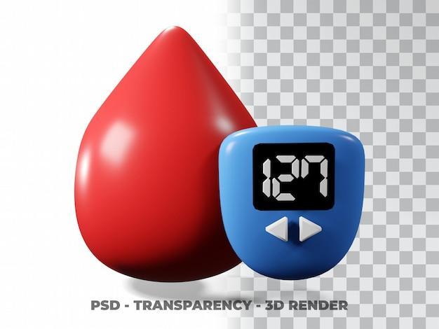 Bluttropfen illustration weltdiabetestag, blutspendertag 3d-modellierung mit transparenzhintergrund