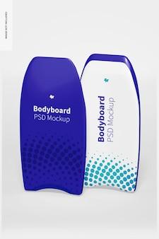 Bodyboard mockup, vorder- und rückansicht