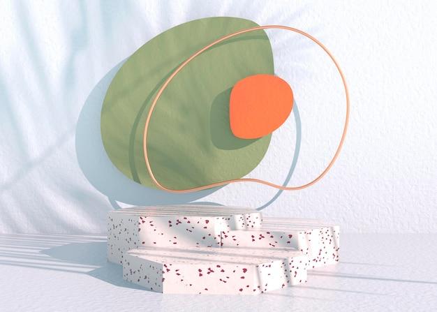 Boho-podium mit palmblattschatten und pastellfarben für die präsentation von kosmetischen produkten. leerer schaukastensockelhintergrund mock-up. 3d-rendering.