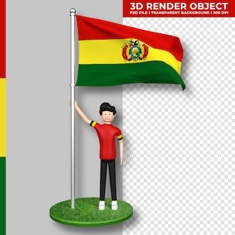 Bolivien-flagge mit niedlichen menschen-cartoon-figur. tag der unabhängigkeit. 3d-rendering.
